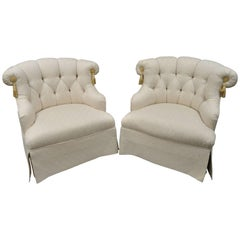 Pair of Upholstered Tufted Slipper Lounge Chairs by Tomlinson Erwin-Lambeth
