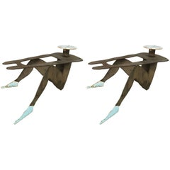 Pair of Postmodern Figurative Folk Art Sculpture Tables