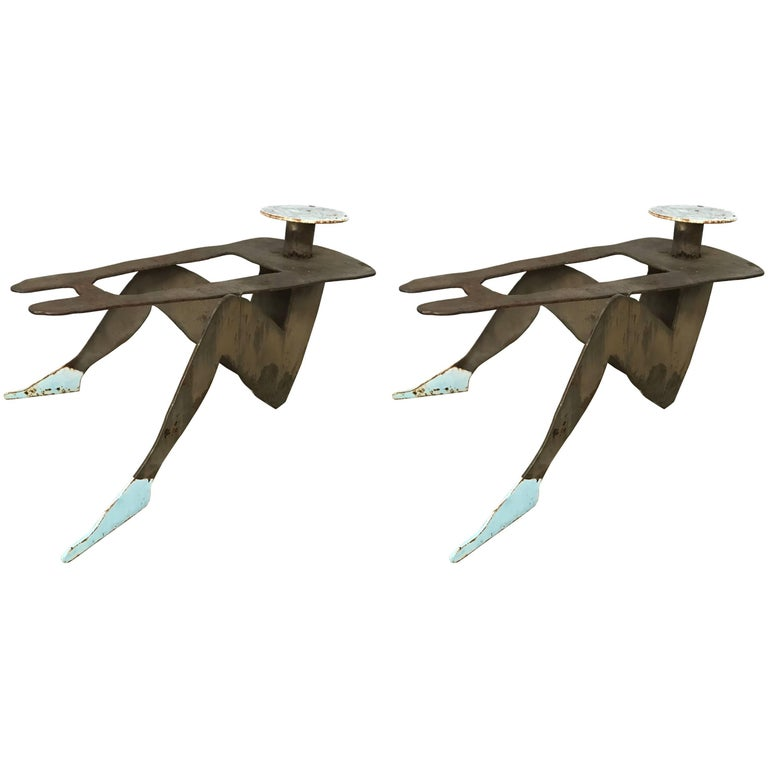 Pair of Postmodern Figurative Folk Art Sculpture Tables