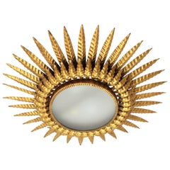 Double Layered Gilt Metal and Glass Sunburst Ceiling Light Fixture, Spain, 1950s