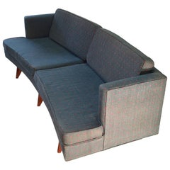 Midcentury Curved Sofa in the Style of Edward Wormley for Reupholstering