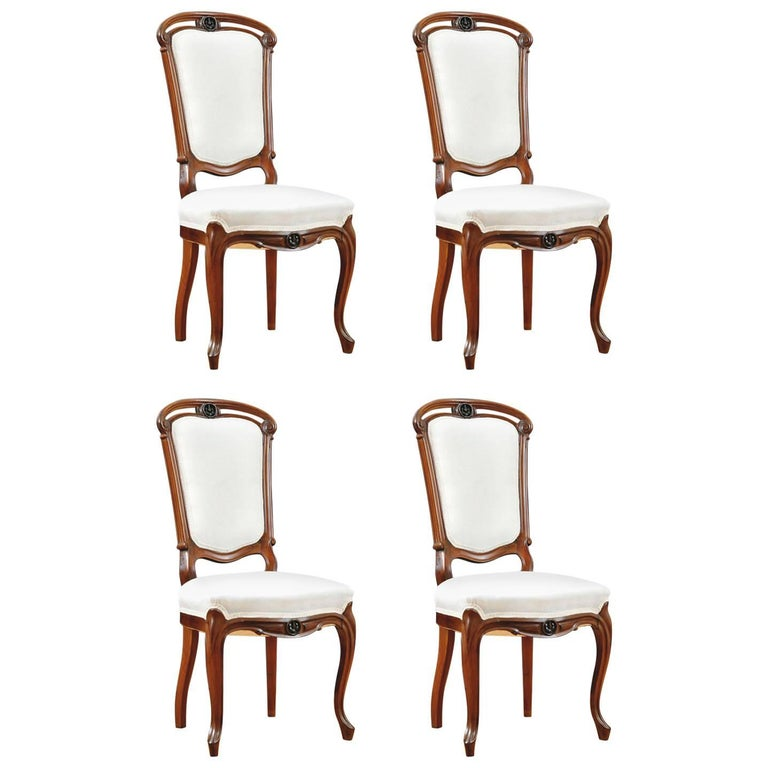 Set of Four Napoleon III Dining Chairs in Mahogany with Upholstery, circa 1880