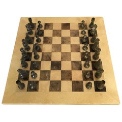 Aldo Tura Goatskin and Bronze Chess Set