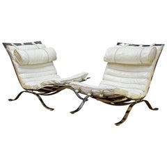 1960s Pair Arne Norell White Leather ARI Lounge Chairs Scandinavian Cabinmodern
