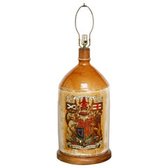 Glazed Ceramic Crock Lamp with English Royal Coat of Arms