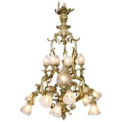 French Belle Époque Rococo Style Gilt-Bronze and Frosted Glass Shades Chandelier