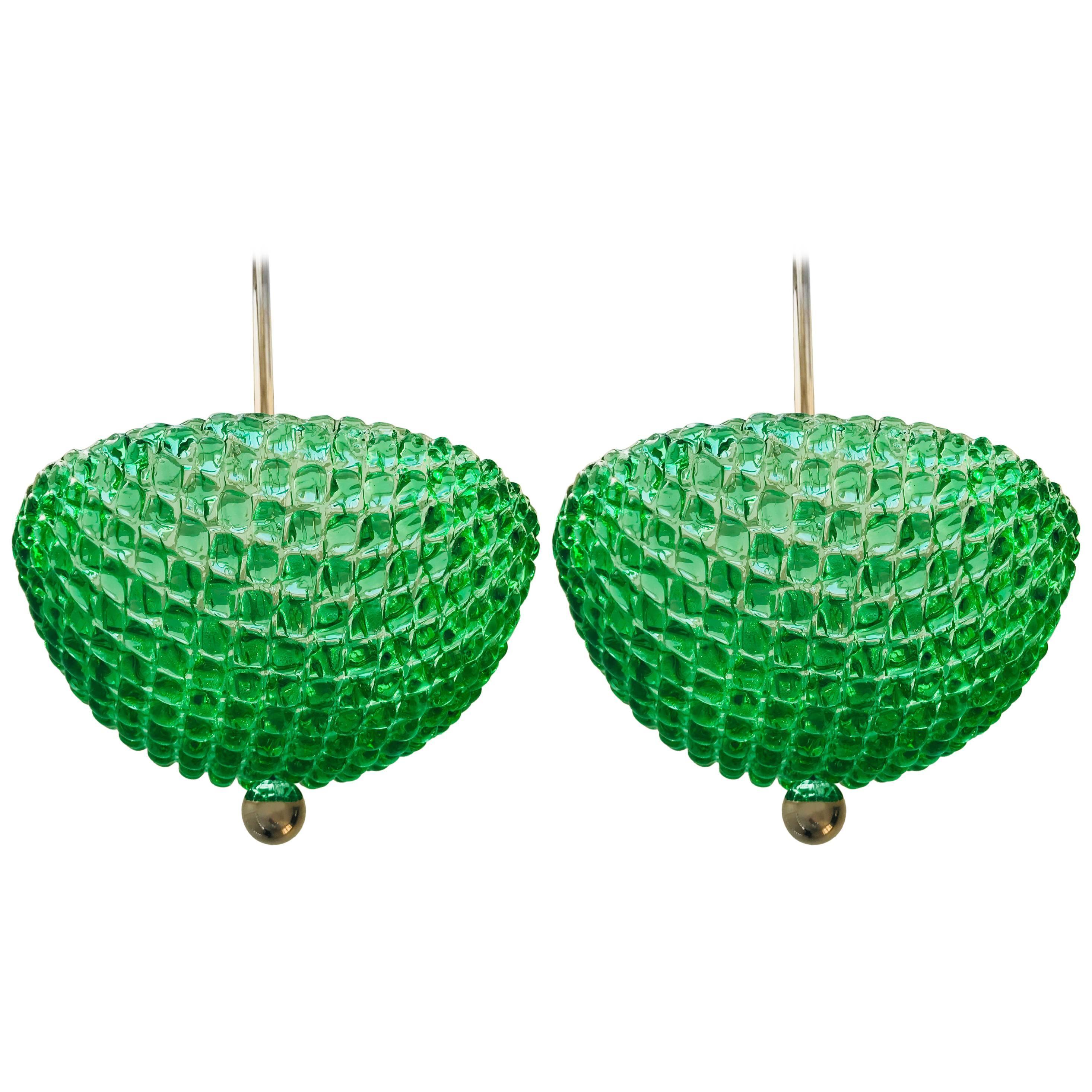 Pair of Murano Emerald Green Glass 1960s Pendants