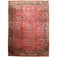 Antique Persian Tabriz Oriental Carpet In Large Size With
