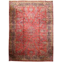 Antique Persian Kashan Oriental Carpet in Large Size with Floral Design & Vases