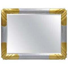 Gold and Silver Leaf Hollywood Regency Art Deco Style Wall Mirror by Turner