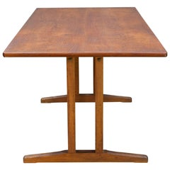 Midcentury Vintage Borge Mogensen FDB Oak, Beech and Teak Dining Work Table
