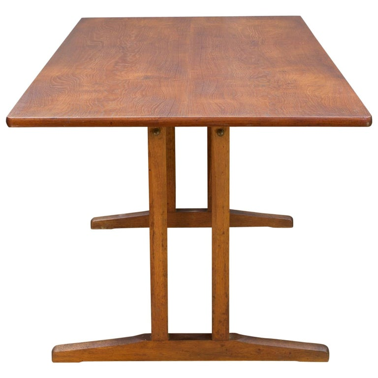 Midcentury Vintage Borge Mogensen FDB Oak, Beech and Teak Dining Work Table For Sale