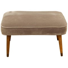 Midcentury Velvet and Wood Bench