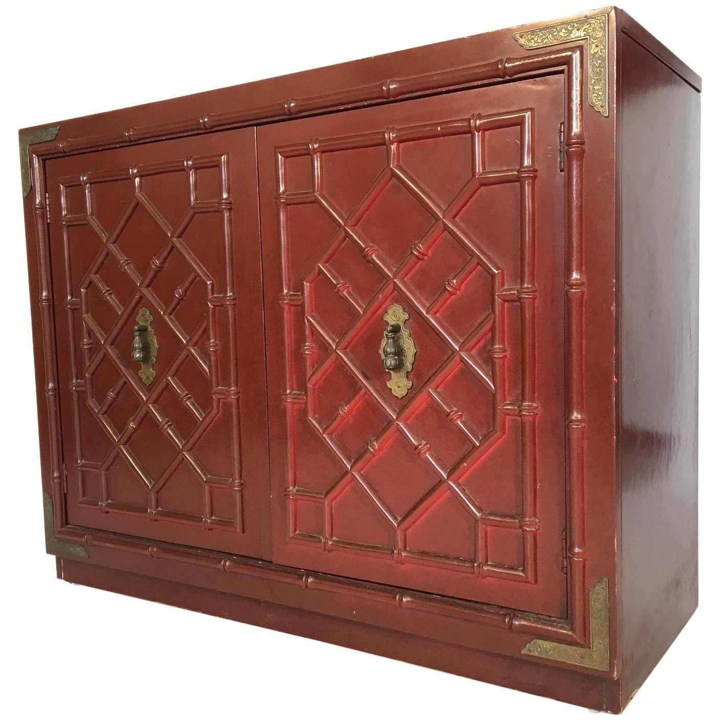 Huntley By Thomasville Faux Bamboo Chinoiserie Two Door Cabinet