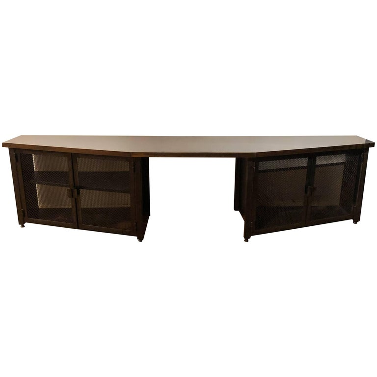 Custom Large Acid-Treated Brass Desk by Argosy Designs For Sale
