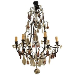 Early 20th Century Iron Chandelier with Amethyst Crystals