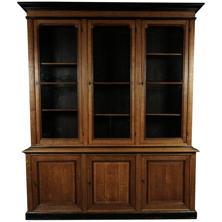 Large Oak Bookcase from France, circa 1880