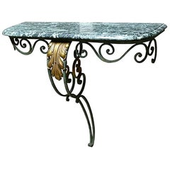 19th Century Painted Steel Console with Marble Top