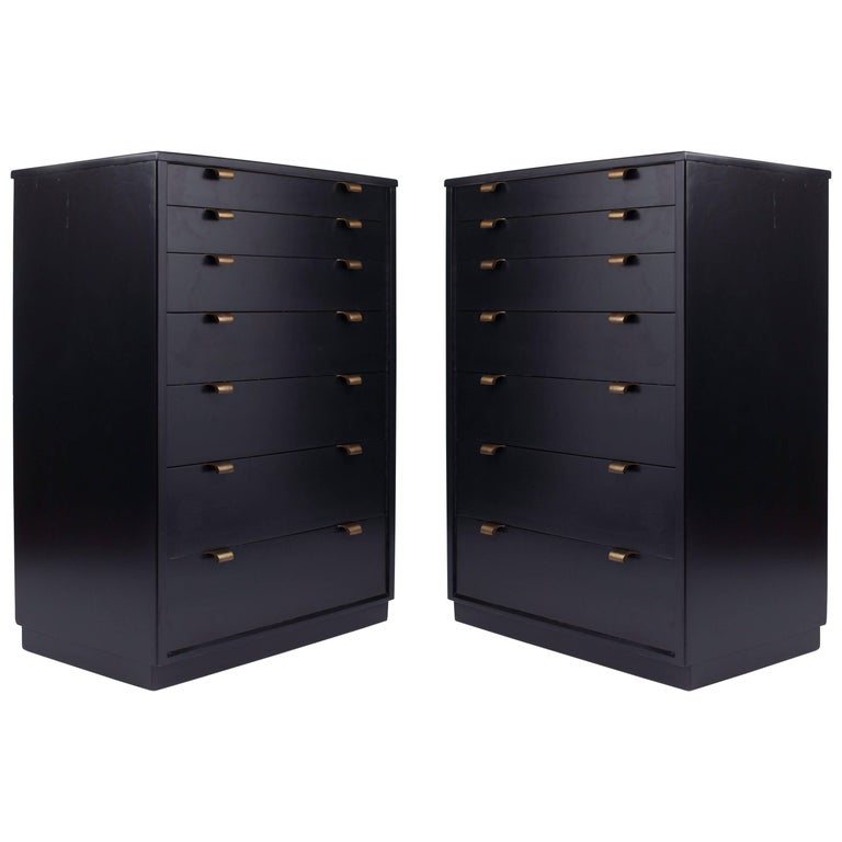 Edward Wormley: Classic Pair of Dressers in Black Lacquered Wood & Brass, 1940's For Sale