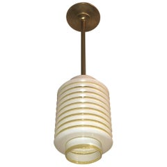 Five Ribbed Glass and Brass Ceiling Lights, France, circa 1945