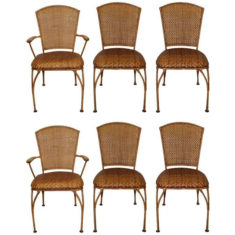 Set of Six Midcentury French Caned Dining Chairs, Four Sides and Two Armchairs For Sale