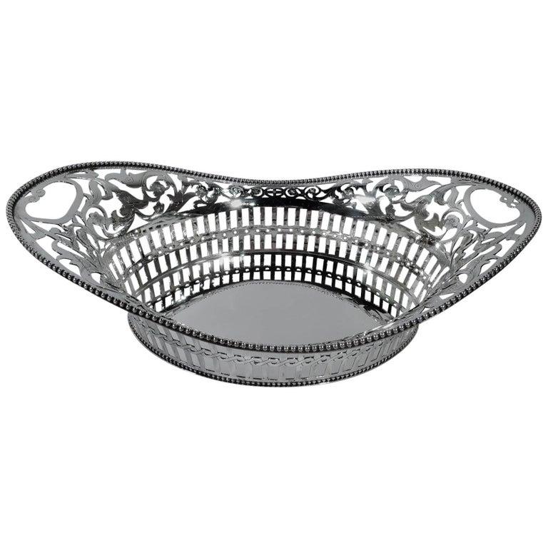 Antique Tiffany Pierced Sterling Silver Basket