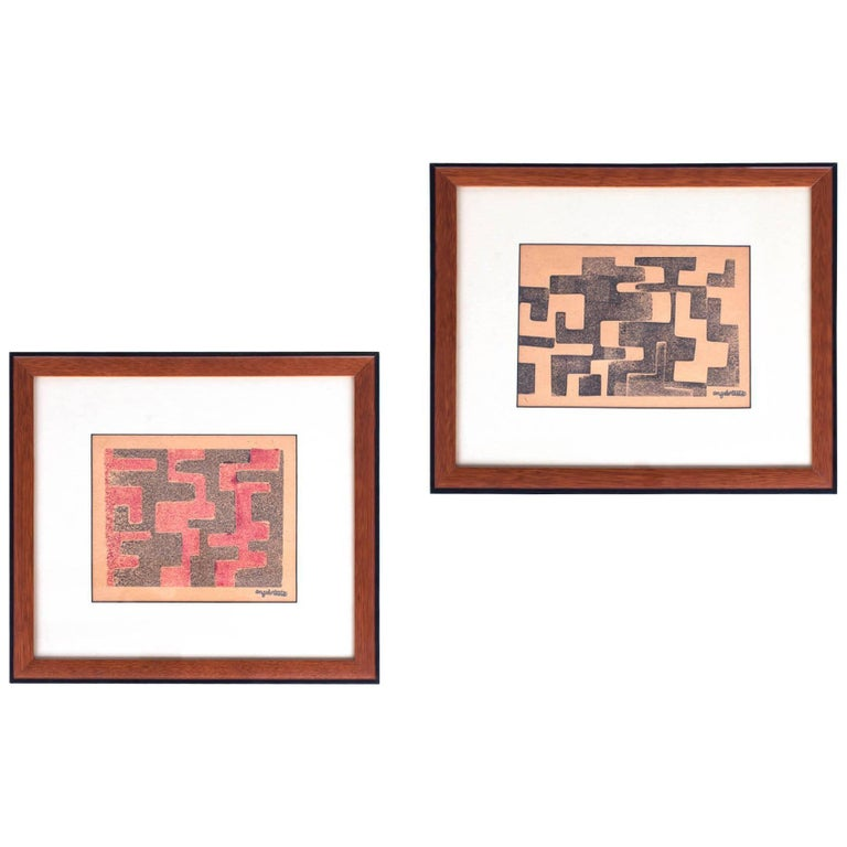 Angelo Testa: Pair of Signed Geometric Abstract Prints in Red and Yellow, 1950's