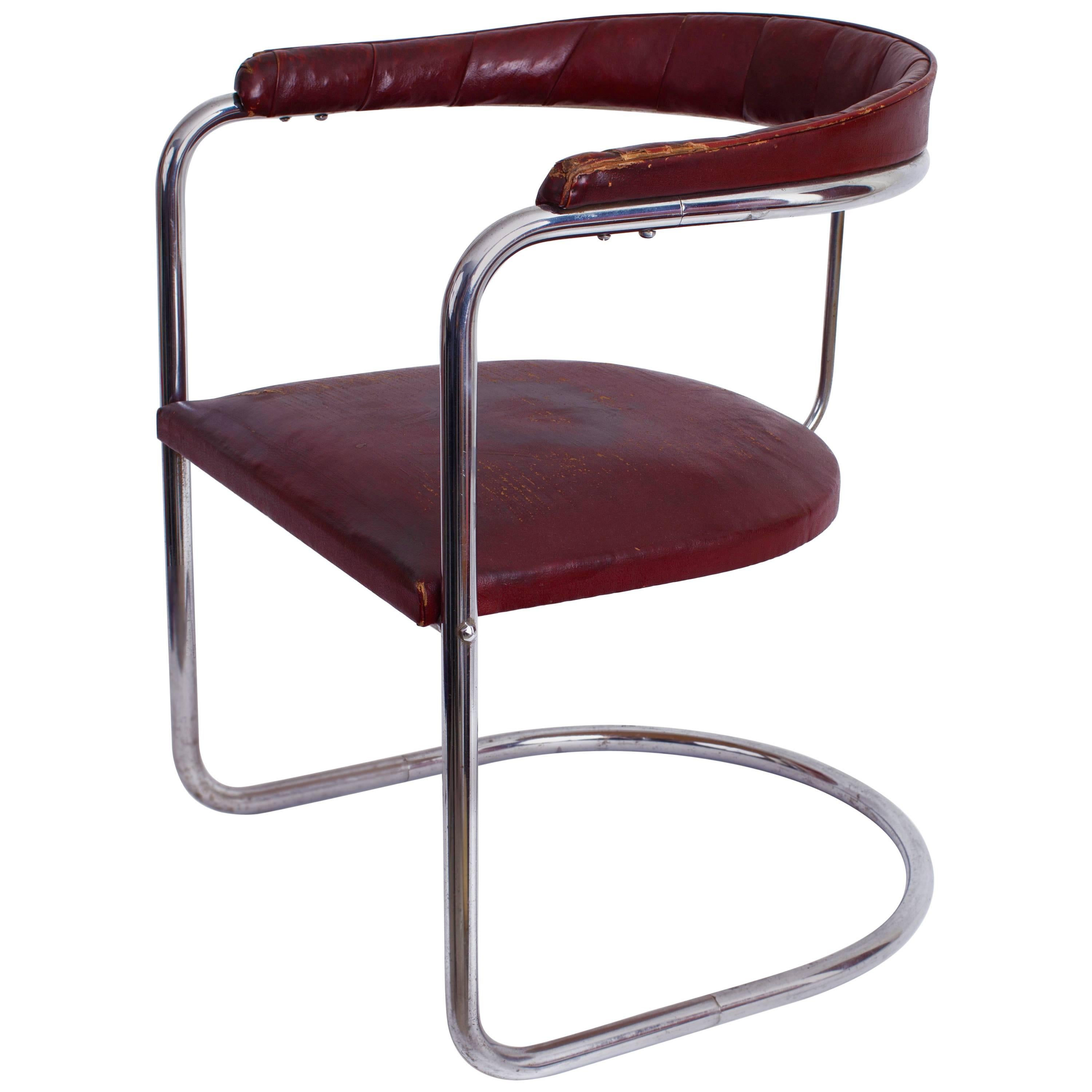 Captivating Early Anton Lorenz For Thonet Cantilevered Steel Tube SS33 Chair, Germany  1930u0027s