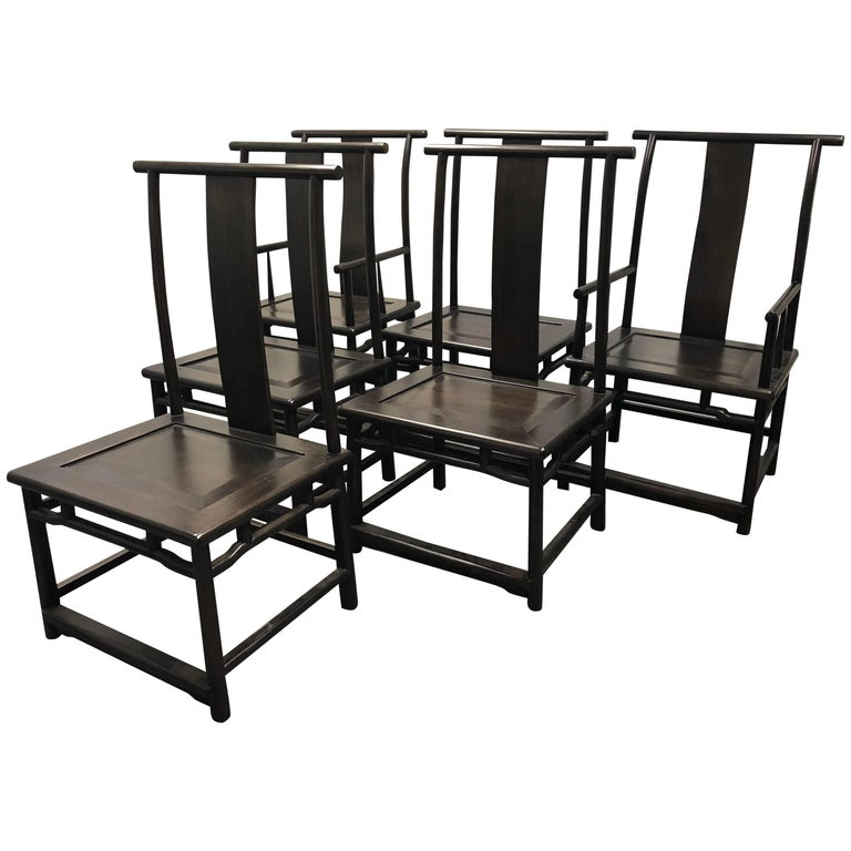Set of Six Maria Yee Asian Style Walnut Dining Chairs For Sale