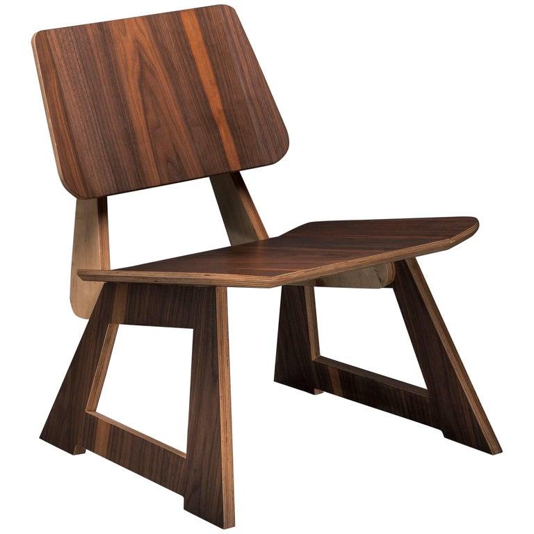 Mafoo Lounge Chair Walnut veneered plywood handmade by Lee Matthews