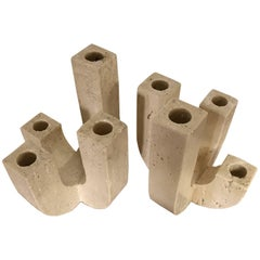 Pair of Mangiarotti Style Travertine Candelabras by Raymor