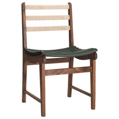 Michael Van Bueren Modernist Dining Chair in Walnut with Leather Ribs