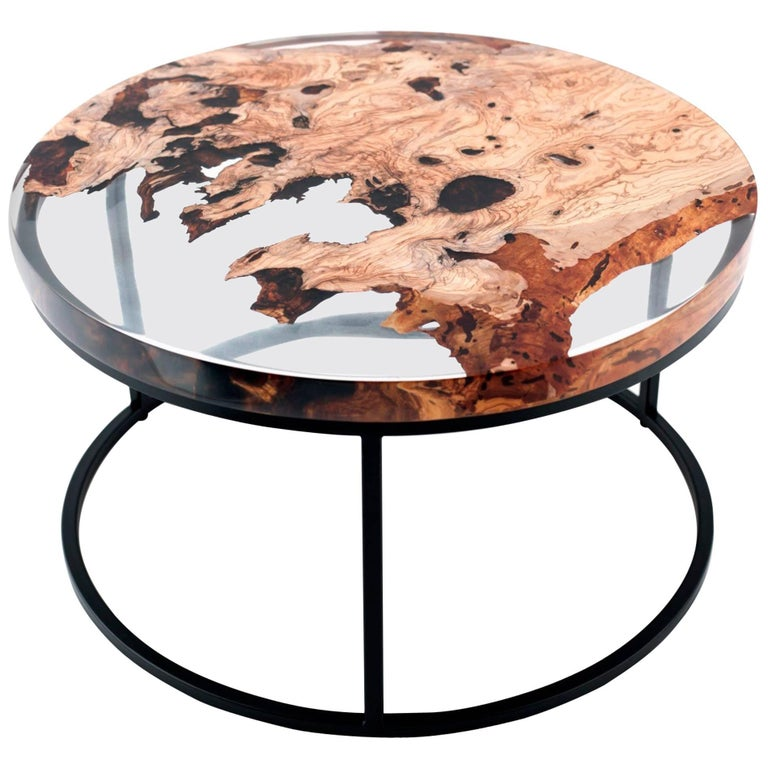Side Table Opruiming.Zeytin 90 Epoxy Resin Coffee Table
