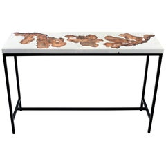 White Burl 170 Epoxy Resin High Top Bar Table
