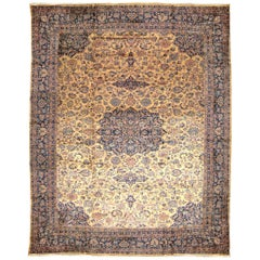 Antique Indo-Kashan Oriental Carpet, with Medallion and Soft Colors