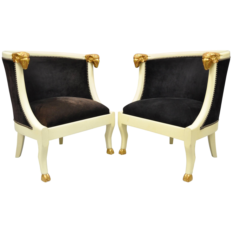 Pair of Ram's Head Regency Neoclassical Style Barrel Back Chairs with Hoof Feet