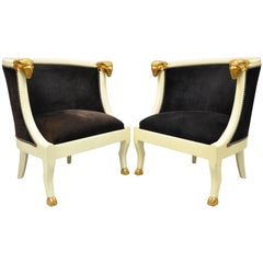 Pair of Ram's Head Neoclassical Style Barrel Back Bergere Chairs with Hoof Feet