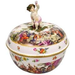19th Century Historismus Painting Meissen Lid Punsch Hardpaste Porcelain Bowl
