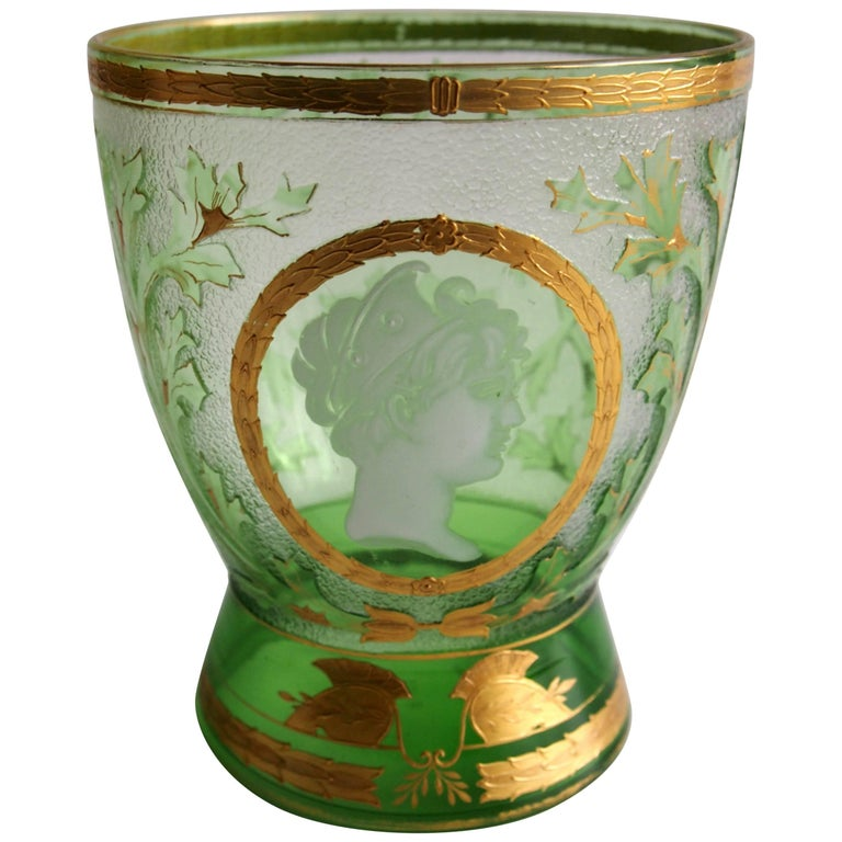 Art Nouveau Helmet Cameo Vase by Riedel For Sale