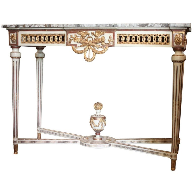 19th Century French Painted Louis XVI Console with Faux Marble Top