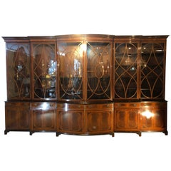 Monumental Georgian Schmieg and Kotzian Custom Bow Breakfront Bookcase Cabinet