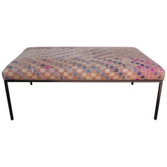 Ottoman or Bench Pink Vintage Textile Top with Custom Base from Haskell Studio