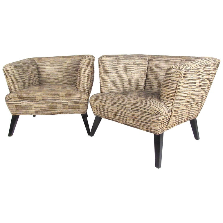 Pair of Vintage Modern Art Deco Club Chairs