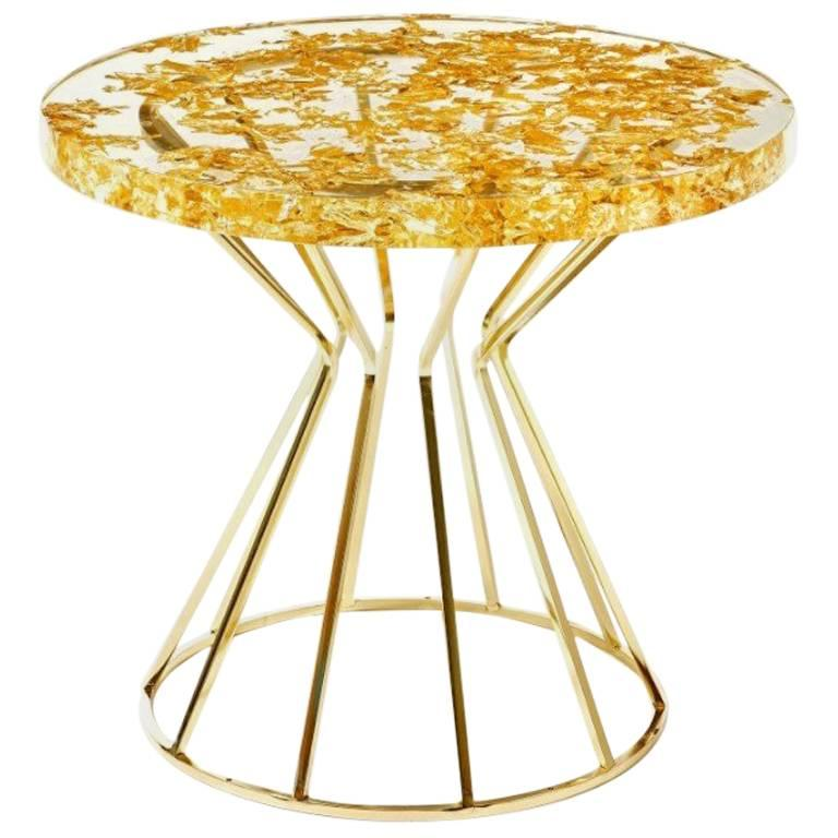 Resin Epoxy Table With Pretty Cork Pieces On Hairpin Legs For Sale At 1stdibs