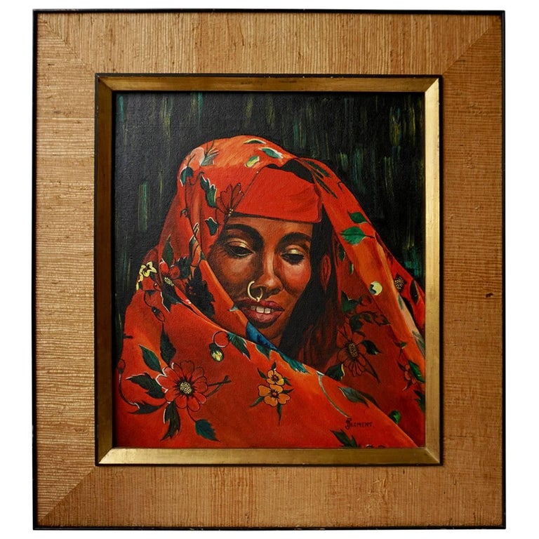Orientalistic Painting of a Woman by J Froment For Sale