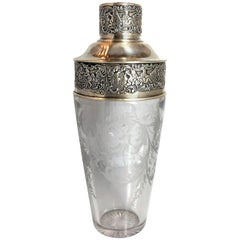 Antique American Sterling Silver Cut Crystal Cocktail Shaker Signed Chatillon