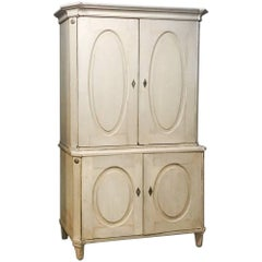 Painted Swedish Two-Tiered Cabinet