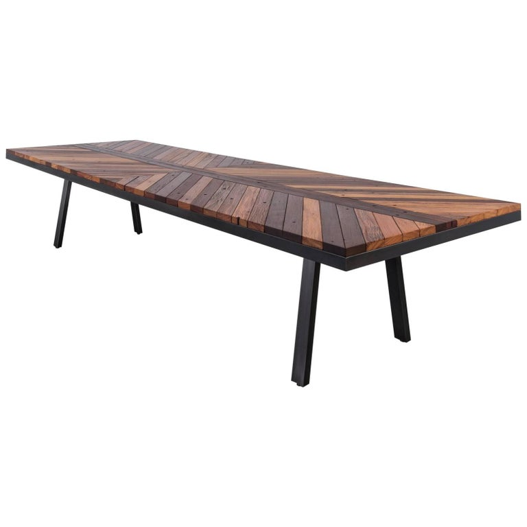 Boardwalk Dining Table by Uhuru Design, Reclaimed Ipe and Hand-Blackened Steel