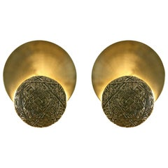 """Pair of """"Gong"""" Applique, Brass Casting and Satin Brass, Esperia, Italy, 2016"""