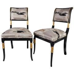 Regency- Style Custom Dining Chairs in Dedar Fabric